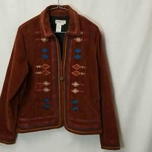 COLDWATER CREEK Brown Velvet Embroidered Jacket